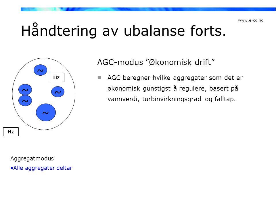 """www.e-co.no Håndtering av ubalanse forts. AGC-modus """"Økonomisk drift""""  AGC beregner hvilke aggregater som det er økonomisk gunstigst å regulere, base"""