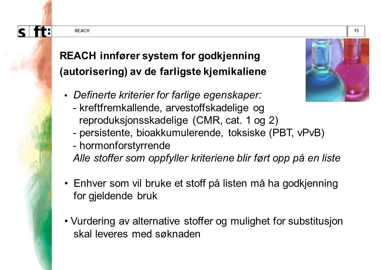 15REACH REACH innfører system for godkjenning (autorisering) av de farligste kjemikaliene • Definerte kriterier for farlige egenskaper: - kreftfremkal