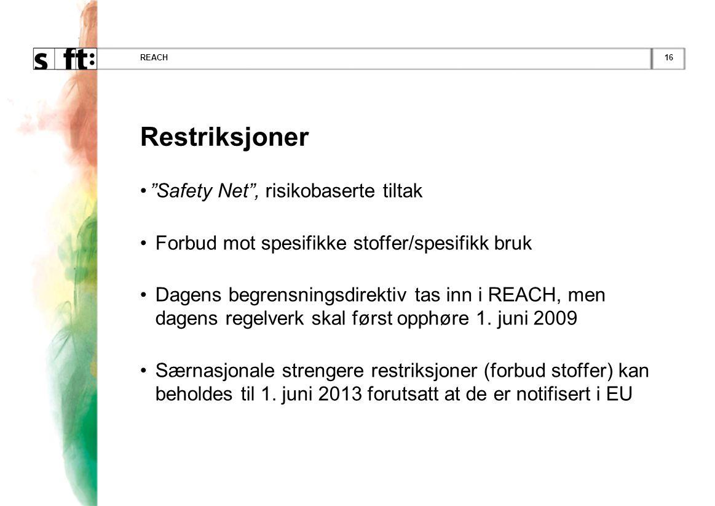 """16REACH Restriksjoner •""""Safety Net"""", risikobaserte tiltak • Forbud mot spesifikke stoffer/spesifikk bruk • Dagens begrensningsdirektiv tas inn i REACH"""