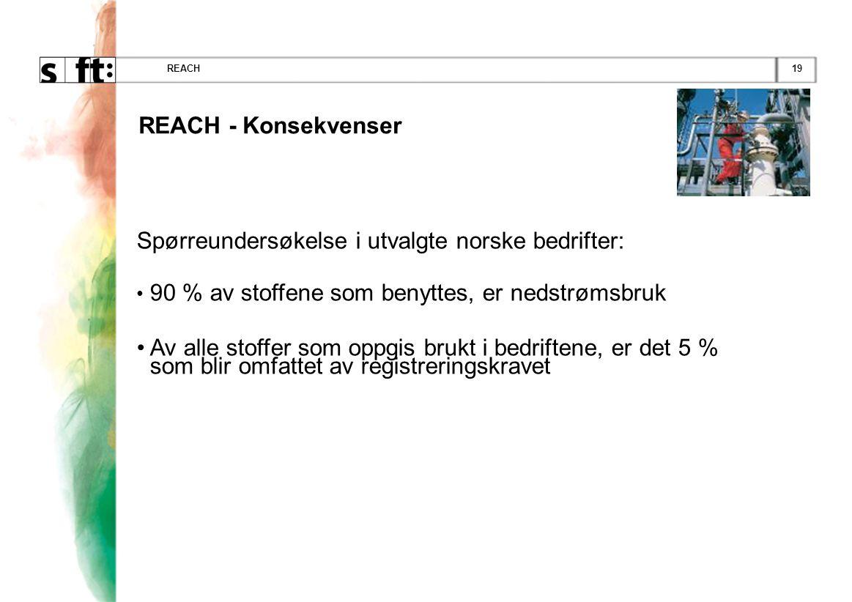 19REACH Spørreundersøkelse i utvalgte norske bedrifter: • 90 % av stoffene som benyttes, er nedstrømsbruk • Av alle stoffer som oppgis brukt i bedriftene, er det 5 % som blir omfattet av registreringskravet REACH - Konsekvenser