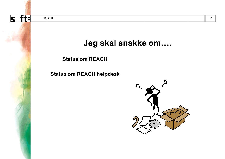 2REACH Jeg skal snakke om…. Status om REACH Status om REACH helpdesk