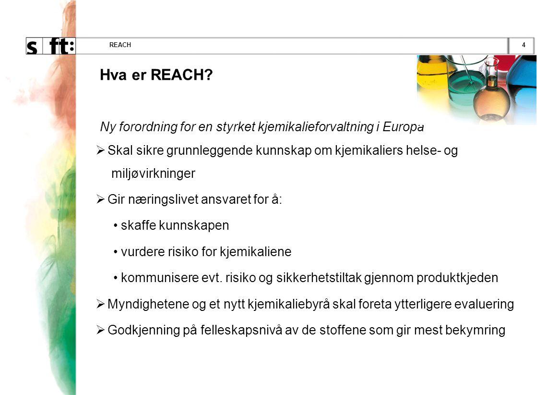 4REACH Hva er REACH? Ny forordning for en styrket kjemikalieforvaltning i Europa  Skal sikre grunnleggende kunnskap om kjemikaliers helse- og miljøvi