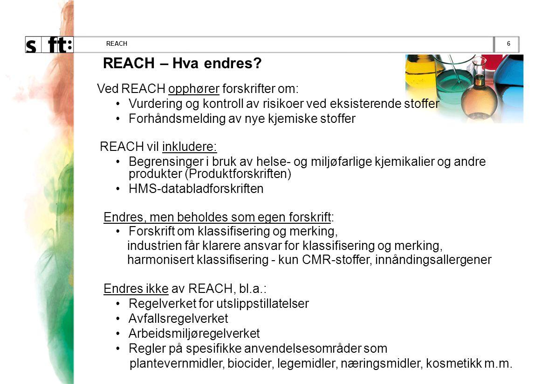 6REACH REACH – Hva endres? Ved REACH opphører forskrifter om: •Vurdering og kontroll av risikoer ved eksisterende stoffer •Forhåndsmelding av nye kjem