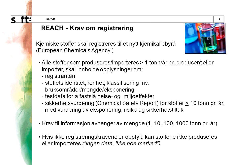 9REACH Registrering gjelder: •Kjemiske stoffer •Stoffer som inngår i stoffblandinger (stoffblandinger skal ikke registreres) •Stoffer i artikler som er beregnet at skal avgis •Produsenter i EU/EØS-området •Importører til EU/EØS-området •Bedrift som kjøper et stoff fra et annet EU/EØS-land, defineres ikke som importør - men som: - Nedstrømbruker når bedriften bruker stoffet i sin virksomhet - Distributør når bedriften bare lagrer og markedsfører stoffet for salg til tredjepart