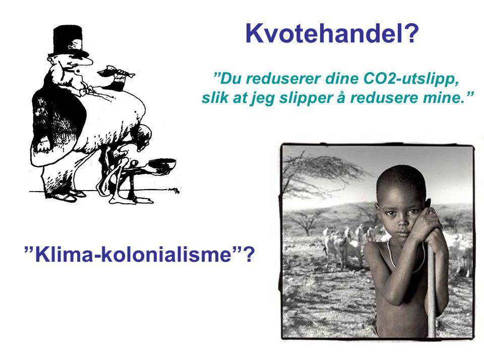 """""""Klima-kolonialisme""""? Kvotehandel? """"Du reduserer dine CO2-utslipp, slik at jeg slipper å redusere mine."""""""