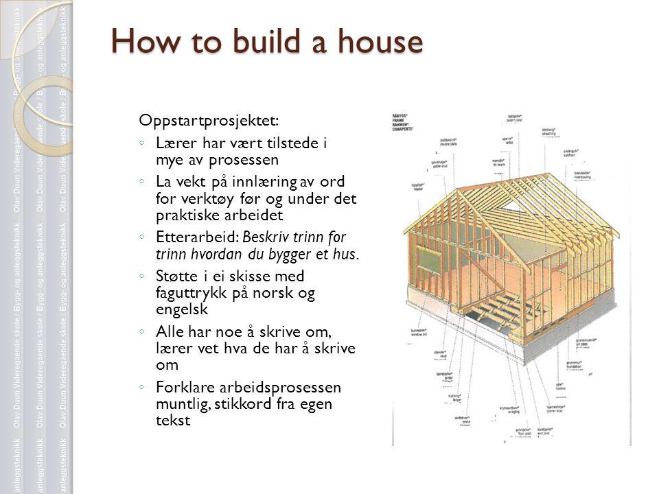 How to build a house Oppstartprosjektet: ◦ Lærer har vært tilstede i mye av prosessen ◦ La vekt på innlæring av ord for verktøy før og under det prakt