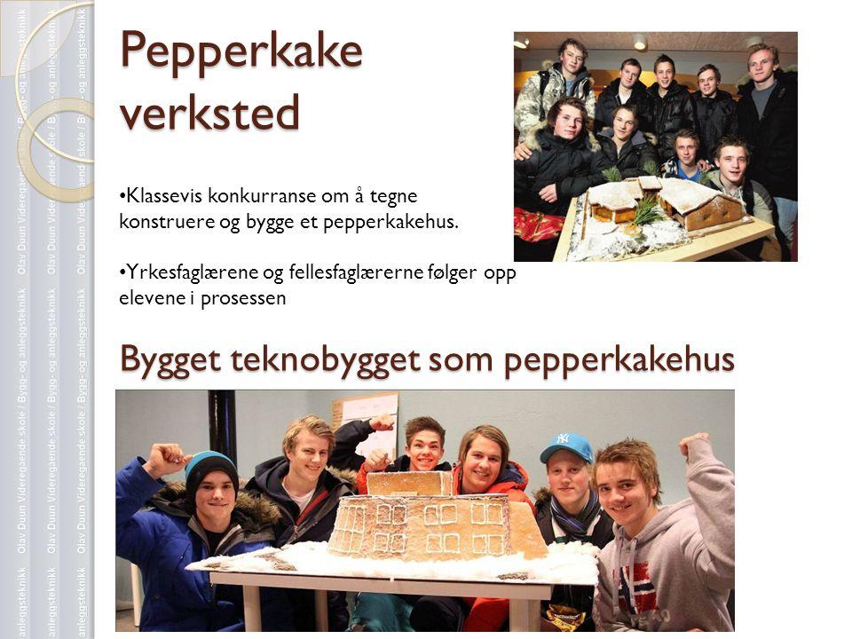 Pepperkake verksted • Klassevis konkurranse om å tegne konstruere og bygge et pepperkakehus. • Yrkesfaglærene og fellesfaglærerne følger opp elevene i