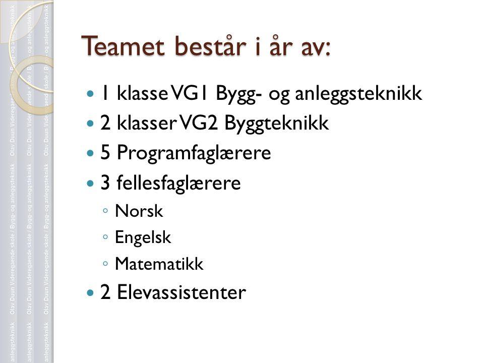 Teamet består i år av:  1 klasse VG1 Bygg- og anleggsteknikk  2 klasser VG2 Byggteknikk  5 Programfaglærere  3 fellesfaglærere ◦ Norsk ◦ Engelsk ◦