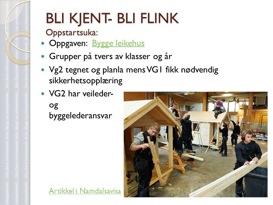 BLI KJENT- BLI FLINK Oppstartsuka:  Oppgaven: Bygge leikehusBygge leikehus  Grupper på tvers av klasser og år  Vg2 tegnet og planla mens VG1 fikk n
