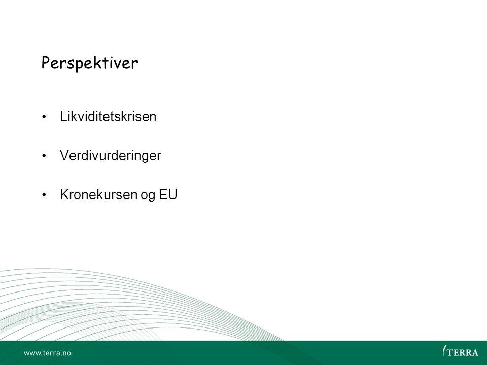 Perspektiver •Likviditetskrisen •Verdivurderinger •Kronekursen og EU