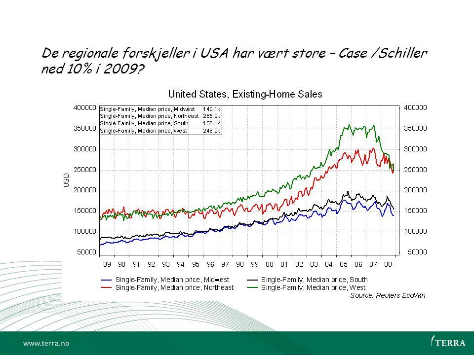 De regionale forskjeller i USA har vært store – Case /Schiller ned 10% i 2009