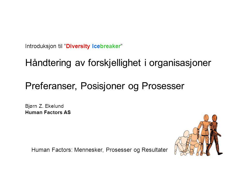 """Introduksjon til """"Diversity Icebreaker"""" Håndtering av forskjellighet i organisasjoner Preferanser, Posisjoner og Prosesser Bjørn Z. Ekelund Human Fact"""