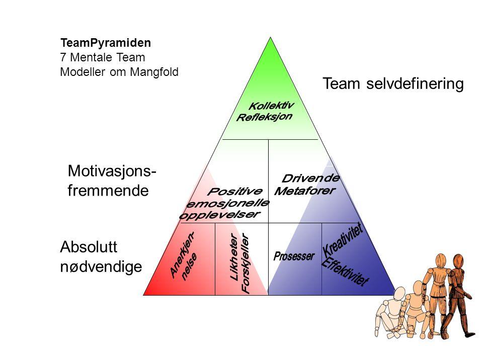 Absolutt nødvendige Motivasjons- fremmende Team selvdefinering TeamPyramiden 7 Mentale Team Modeller om Mangfold