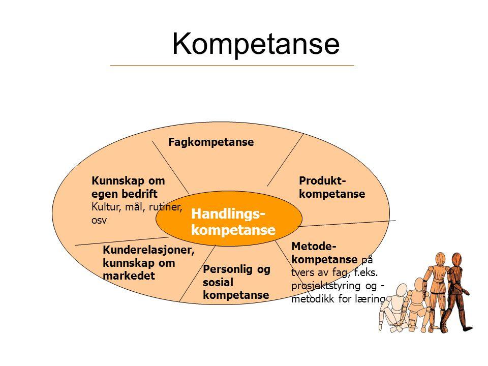 Kompetanse Handlings- kompetanse Fagkompetanse Personlig og sosial kompetanse Kunnskap om egen bedrift Kultur, mål, rutiner, osv Kunderelasjoner, kunn