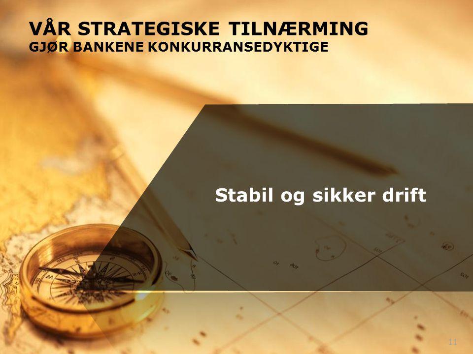 11 Stabil og sikker drift VÅR STRATEGISKE TILNÆRMING GJØR BANKENE KONKURRANSEDYKTIGE