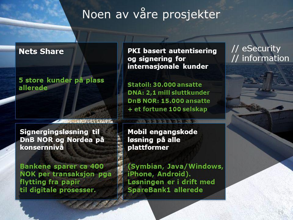 19 Signergingsløsning til DnB NOR og Nordea på konsernnivå Bankene sparer ca 400 NOK per transaksjon pga flytting fra papir til digitale prosesser. Si