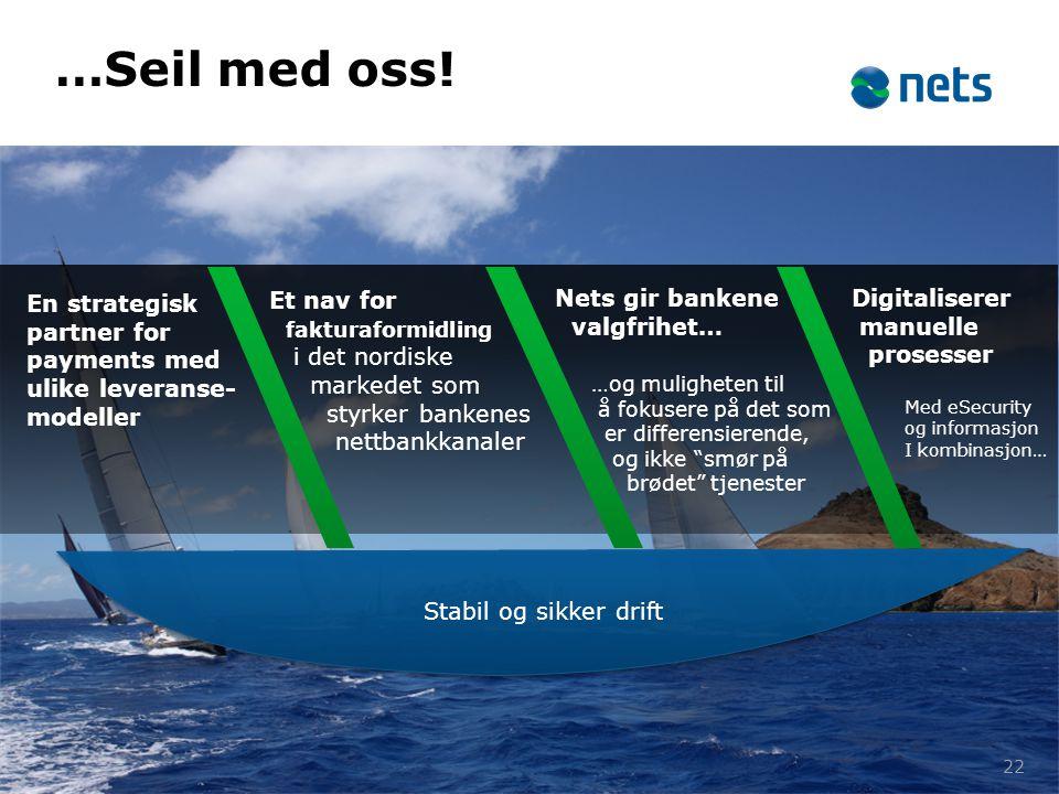 Et nav for fakturaformidling i det nordiske markedet som styrker bankenes nettbankkanaler 22 …Seil med oss! En strategisk partner for payments med uli