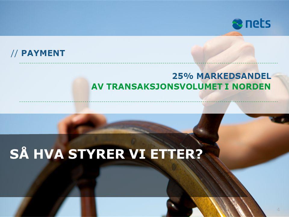 4 SÅ HVA STYRER VI ETTER? 25% MARKEDSANDEL AV TRANSAKSJONSVOLUMET I NORDEN // PAYMENT