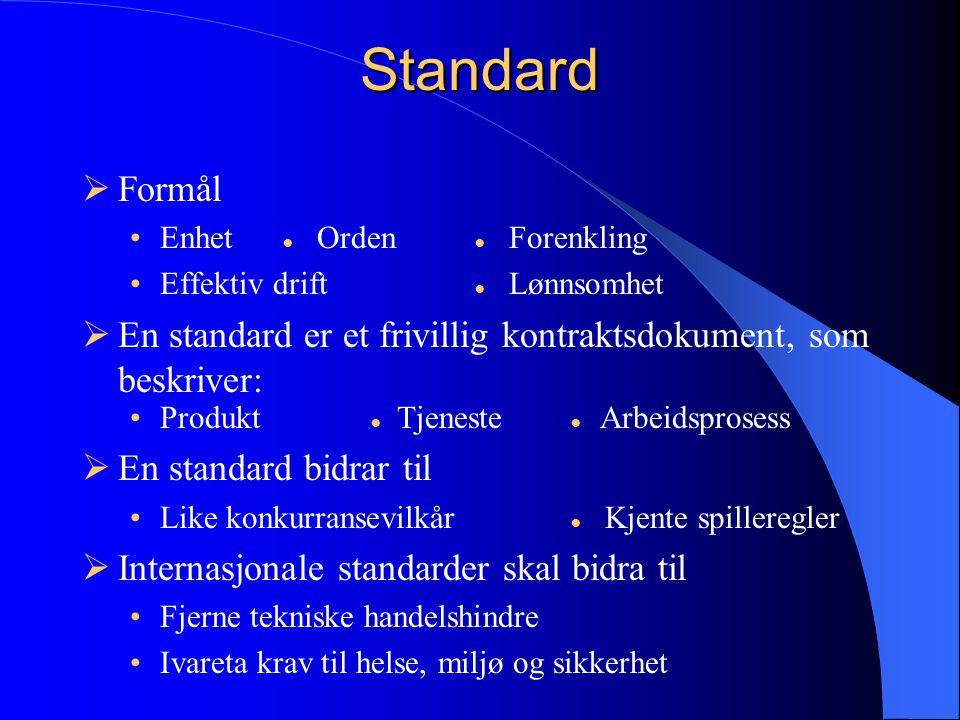 Hovedprinsipper for standardiseringsarbeidet  Åpenhet •Alle kan delta –Bedrifter, myndigheter, forskningsinstitusjoner, forbrukere og arbeidstakere 