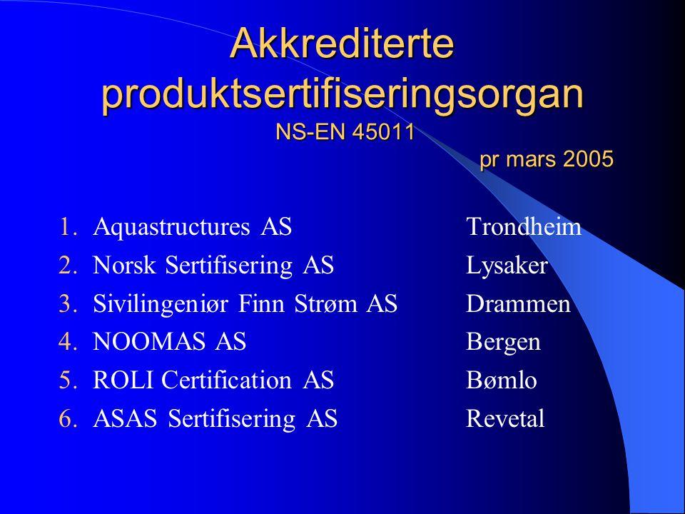 Akkrediterte inspeksjonsorgan NS-EN ISO/IEC 17 020 (tideligere NS-EN 45 004) pr mars 2005 1.Aquastructures asTrondheim 2.NOOMAS asBergen 3.Akva Dykk a