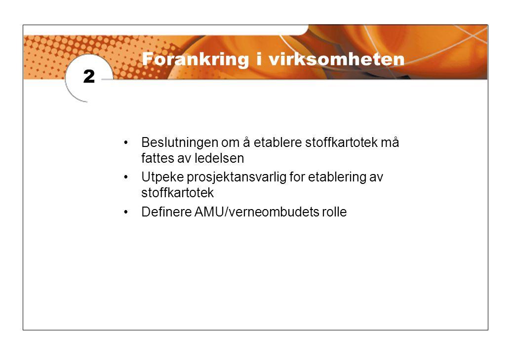 2 •Beslutningen om å etablere stoffkartotek må fattes av ledelsen •Utpeke prosjektansvarlig for etablering av stoffkartotek •Definere AMU/verneombudets rolle Forankring i virksomheten