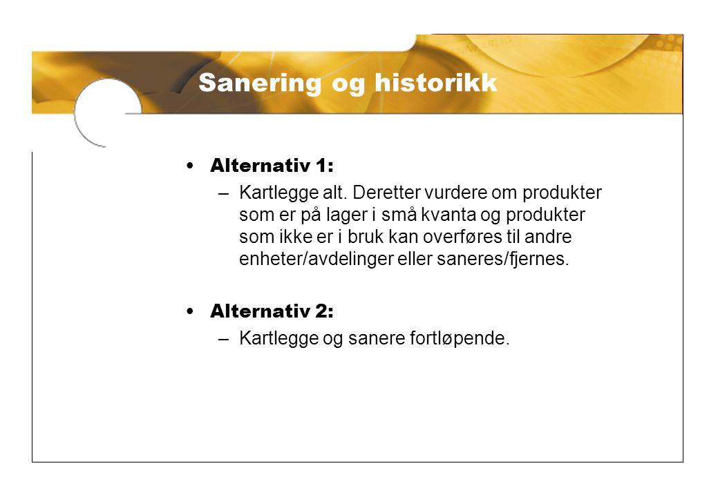 Sanering og historikk •Alternativ 1: –Kartlegge alt.
