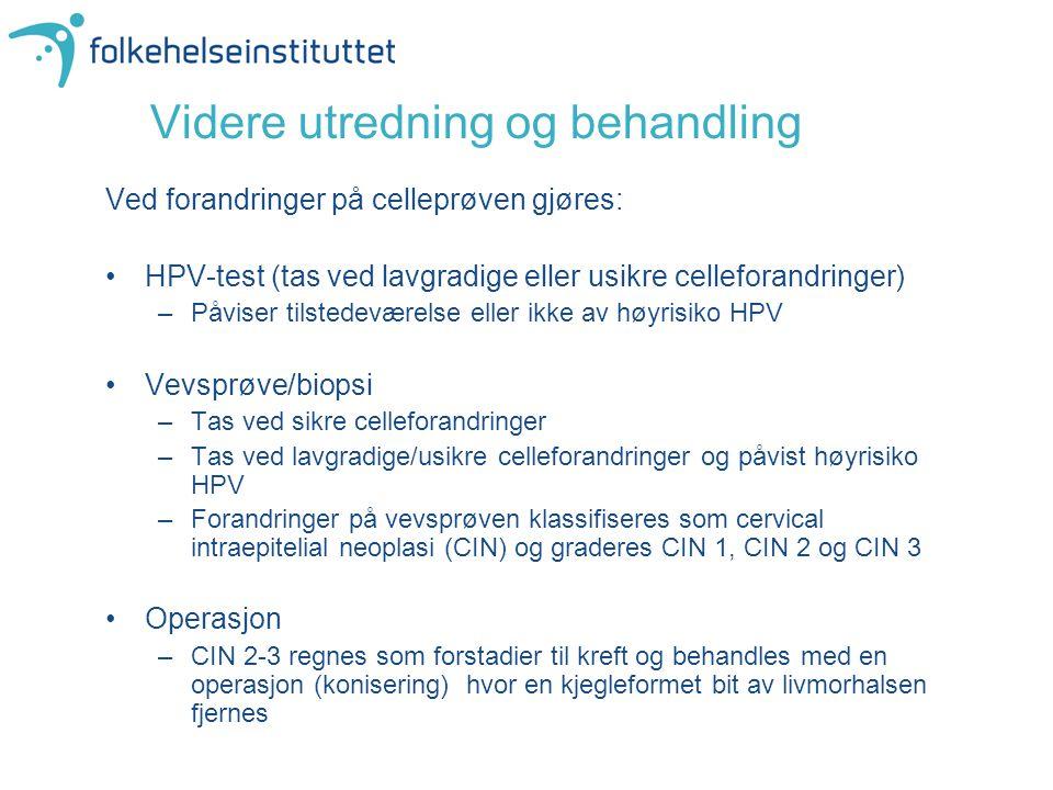 Videre utredning og behandling Ved forandringer på celleprøven gjøres: •HPV-test (tas ved lavgradige eller usikre celleforandringer) –Påviser tilstede