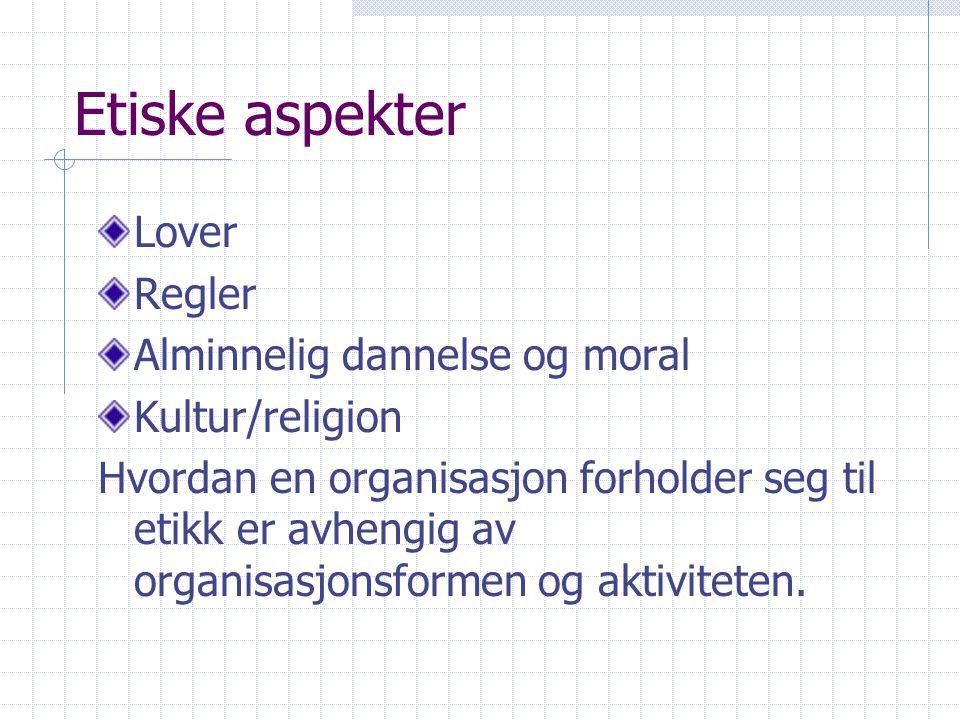 Etiske aspekter Lover Regler Alminnelig dannelse og moral Kultur/religion Hvordan en organisasjon forholder seg til etikk er avhengig av organisasjons