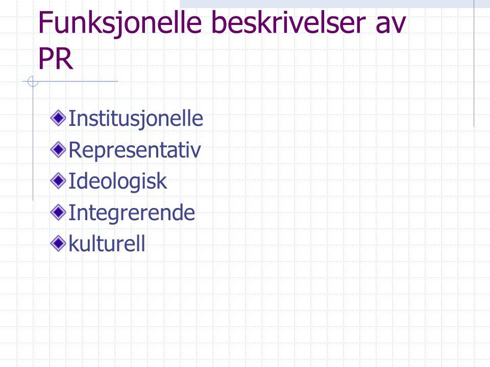Funksjonelle beskrivelser av PR Institusjonelle Representativ Ideologisk Integrerende kulturell