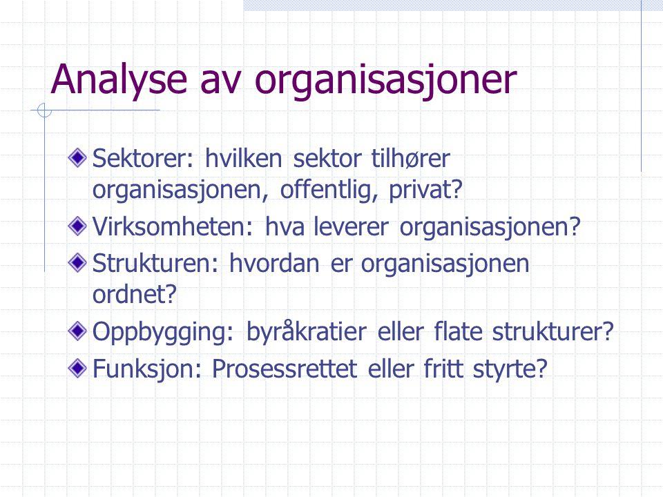 Analyse av organisasjoner Sektorer: hvilken sektor tilhører organisasjonen, offentlig, privat? Virksomheten: hva leverer organisasjonen? Strukturen: h