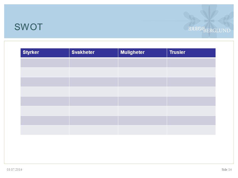 03.07.2014 SWOT StyrkerSvakheterMuligheterTrusler Side 14