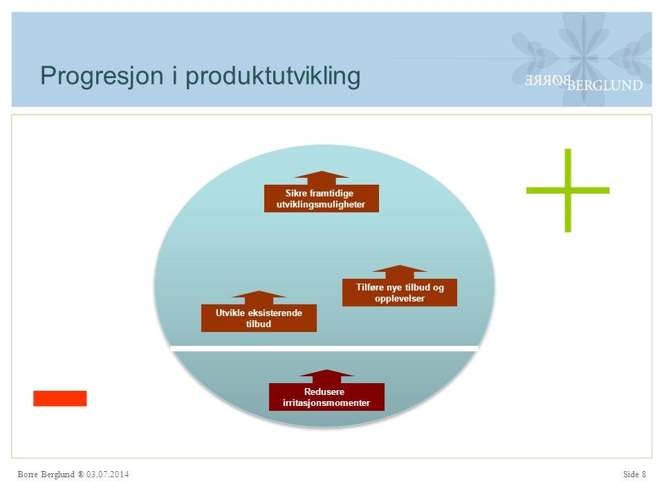 Børre Berglund ® 03.07.2014Side 8 Progresjon i produktutvikling Redusere irritasjonsmomenter Tilføre nye tilbud og opplevelser Utvikle eksisterende tilbud Sikre framtidige utviklingsmuligheter + -