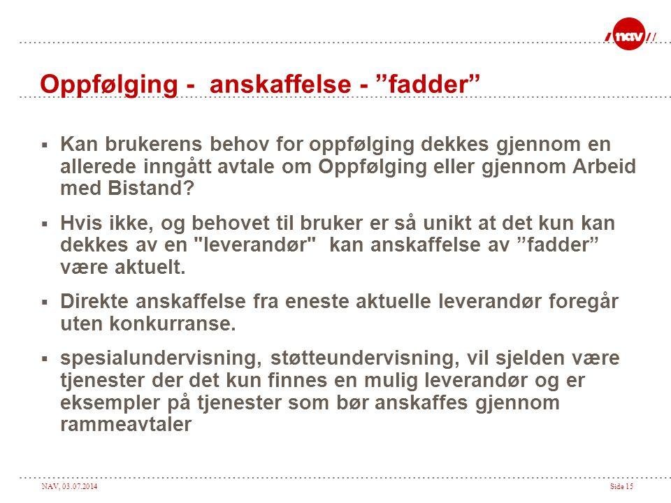 """NAV, 03.07.2014Side 15 Oppfølging - anskaffelse - """"fadder""""  Kan brukerens behov for oppfølging dekkes gjennom en allerede inngått avtale om Oppfølgin"""
