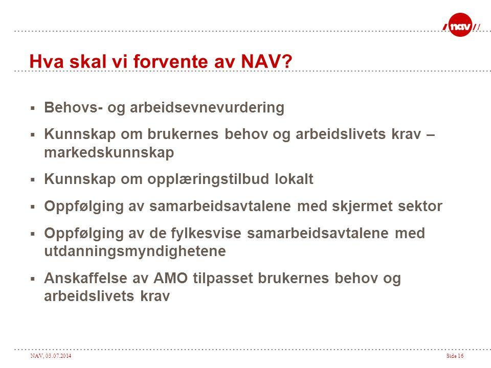 NAV, 03.07.2014Side 16 Hva skal vi forvente av NAV?  Behovs- og arbeidsevnevurdering  Kunnskap om brukernes behov og arbeidslivets krav – markedskun