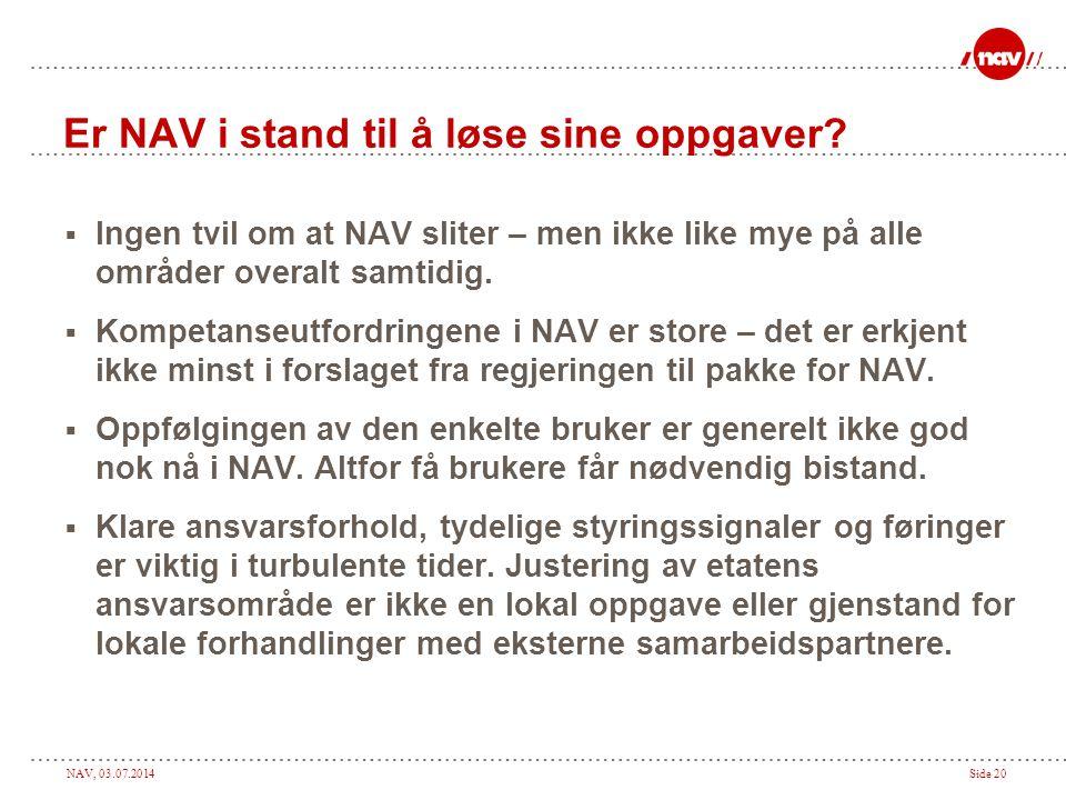 NAV, 03.07.2014Side 20 Er NAV i stand til å løse sine oppgaver?  Ingen tvil om at NAV sliter – men ikke like mye på alle områder overalt samtidig. 