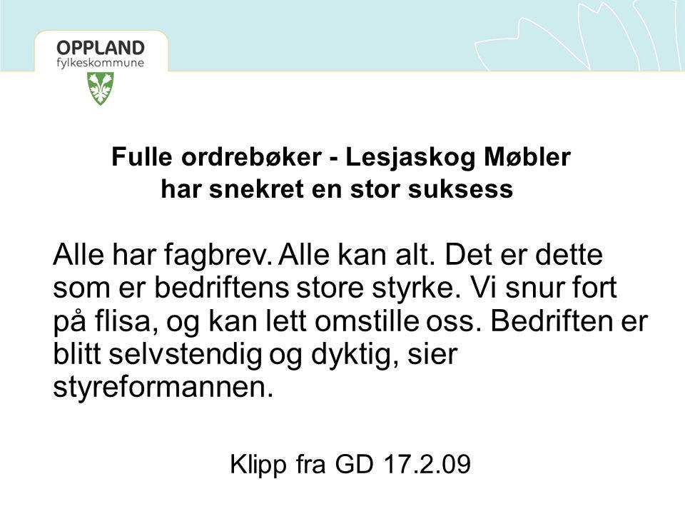 Fulle ordrebøker - Lesjaskog Møbler har snekret en stor suksess Alle har fagbrev. Alle kan alt. Det er dette som er bedriftens store styrke. Vi snur f