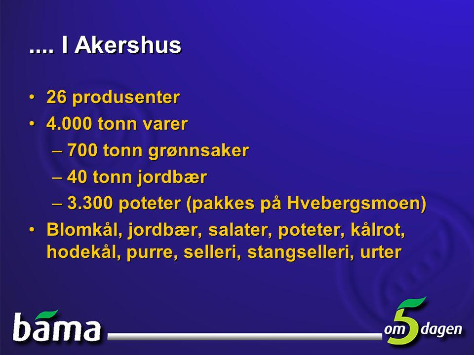 .... I Akershus •26 produsenter •4.000 tonn varer –700 tonn grønnsaker –40 tonn jordbær –3.300 poteter (pakkes på Hvebergsmoen) •Blomkål, jordbær, sal