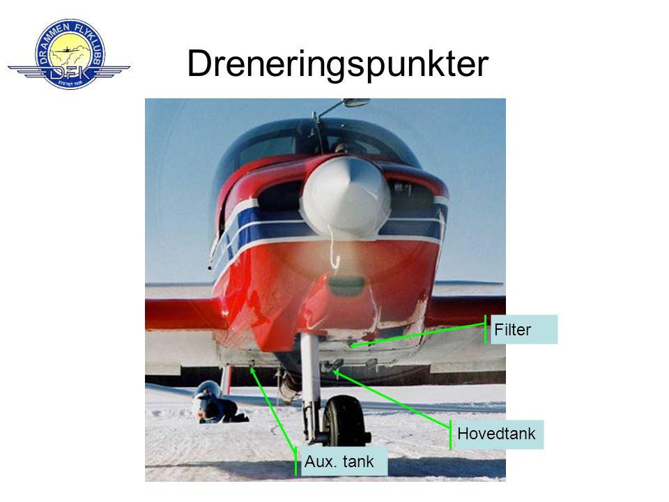 Dreneringspunkter FilterAux. tank Hovedtank