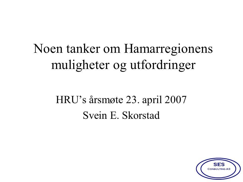 Noen tanker om Hamarregionens muligheter og utfordringer HRU's årsmøte 23. april 2007 Svein E. Skorstad SES Consulting AS