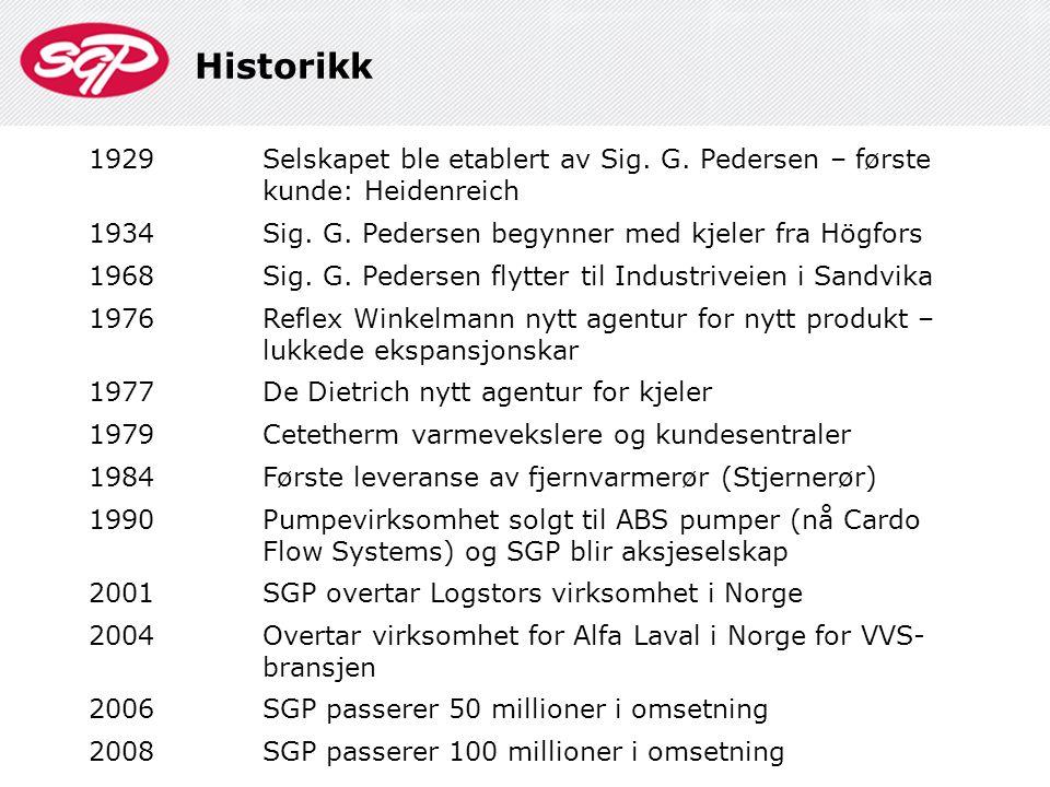 Historikk 1929Selskapet ble etablert av Sig. G. Pedersen – første kunde: Heidenreich 1934Sig. G. Pedersen begynner med kjeler fra Högfors 1968Sig. G.