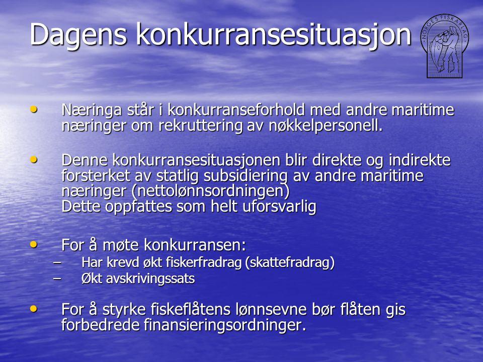 Dagens konkurransesituasjon • Næringa står i konkurranseforhold med andre maritime næringer om rekruttering av nøkkelpersonell. • Denne konkurransesit