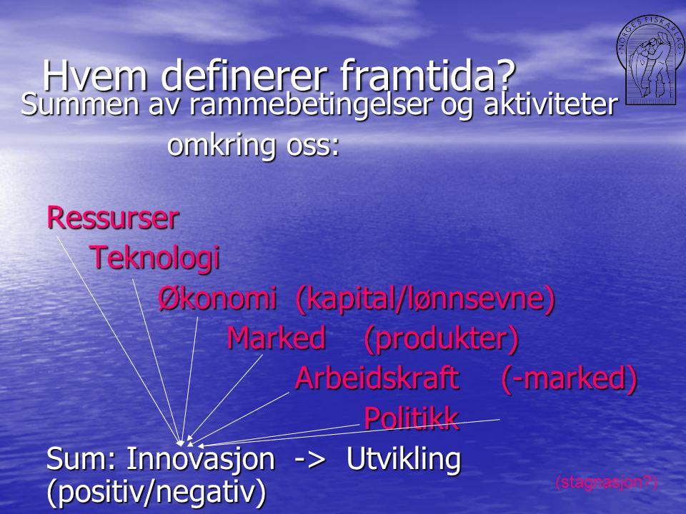 Hvem definerer framtida? Summen av rammebetingelser og aktiviteter omkring oss: omkring oss:RessurserTeknologi Økonomi(kapital/lønnsevne) Marked (prod