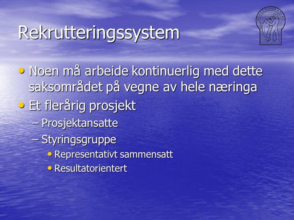 Rekrutteringssystem • Noen må arbeide kontinuerlig med dette saksområdet på vegne av hele næringa • Et flerårig prosjekt –Prosjektansatte –Styringsgru