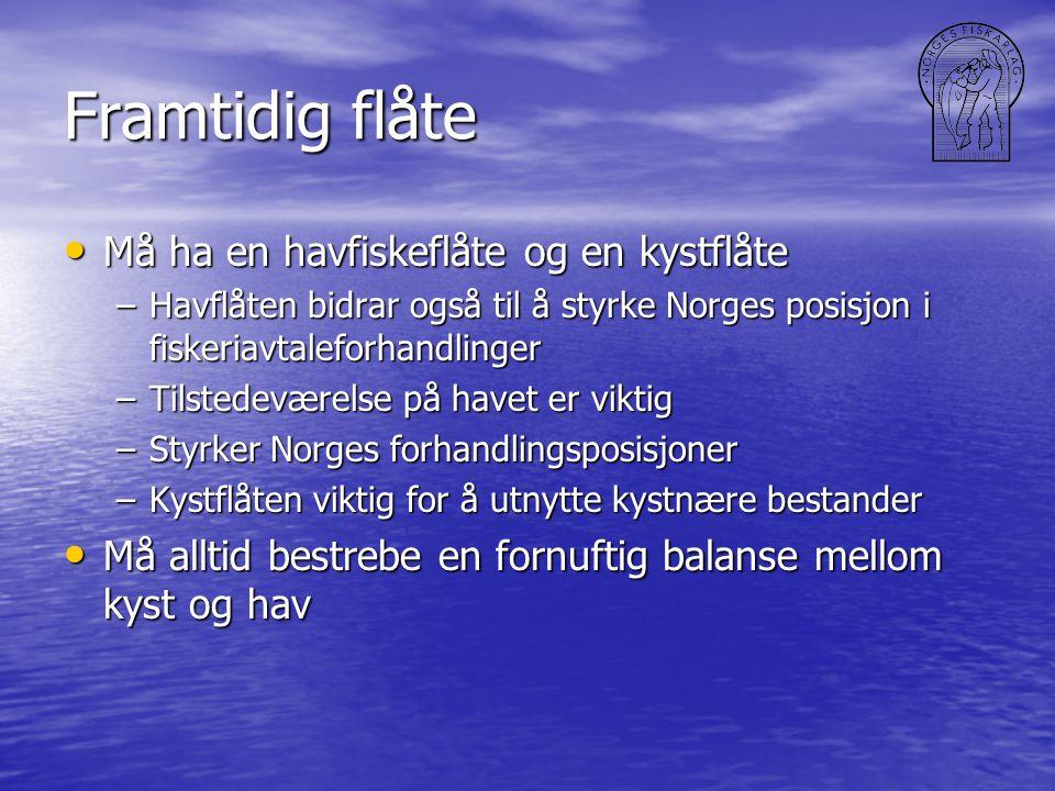 Framtidig flåte • Må ha en havfiskeflåte og en kystflåte –Havflåten bidrar også til å styrke Norges posisjon i fiskeriavtaleforhandlinger –Tilstedeværelse på havet er viktig –Styrker Norges forhandlingsposisjoner –Kystflåten viktig for å utnytte kystnære bestander • Må alltid bestrebe en fornuftig balanse mellom kyst og hav