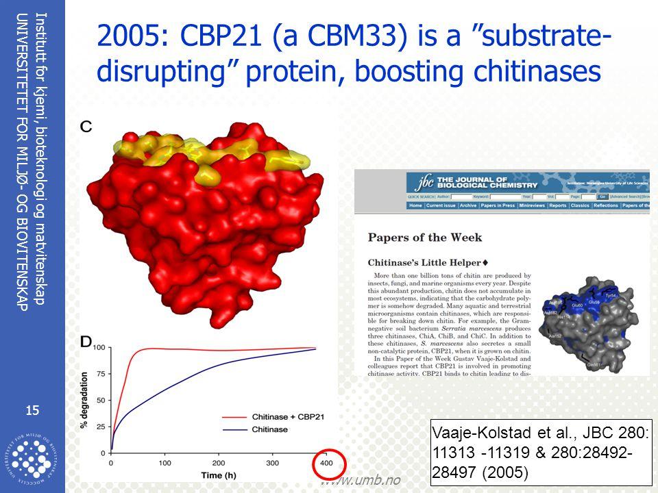 Institutt for kjemi, bioteknologi og matvitenskap 15 UNIVERSITETET FOR MILJØ- OG BIOVITENSKAP www.umb.no 2005: CBP21 (a CBM33) is a substrate- disrupting protein, boosting chitinases Vaaje-Kolstad et al., JBC 280: 11313 -11319 & 280:28492- 28497 (2005)