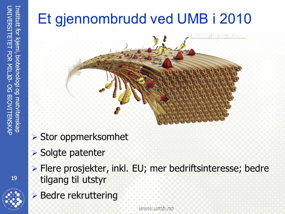 Institutt for kjemi, bioteknologi og matvitenskap 19 UNIVERSITETET FOR MILJØ- OG BIOVITENSKAP www.umb.no Et gjennombrudd ved UMB i 2010  Stor oppmerksomhet  Solgte patenter  Flere prosjekter, inkl.