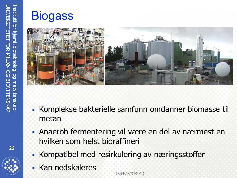 Institutt for kjemi, bioteknologi og matvitenskap 26 UNIVERSITETET FOR MILJØ- OG BIOVITENSKAP www.umb.no Biogass  Komplekse bakterielle samfunn omdanner biomasse til metan  Anaerob fermentering vil være en del av nærmest en hvilken som helst bioraffineri  Kompatibel med resirkulering av næringsstoffer  Kan nedskaleres