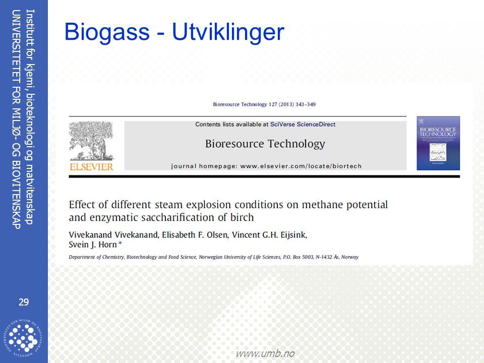Institutt for kjemi, bioteknologi og matvitenskap 29 UNIVERSITETET FOR MILJØ- OG BIOVITENSKAP www.umb.no Biogass - Utviklinger
