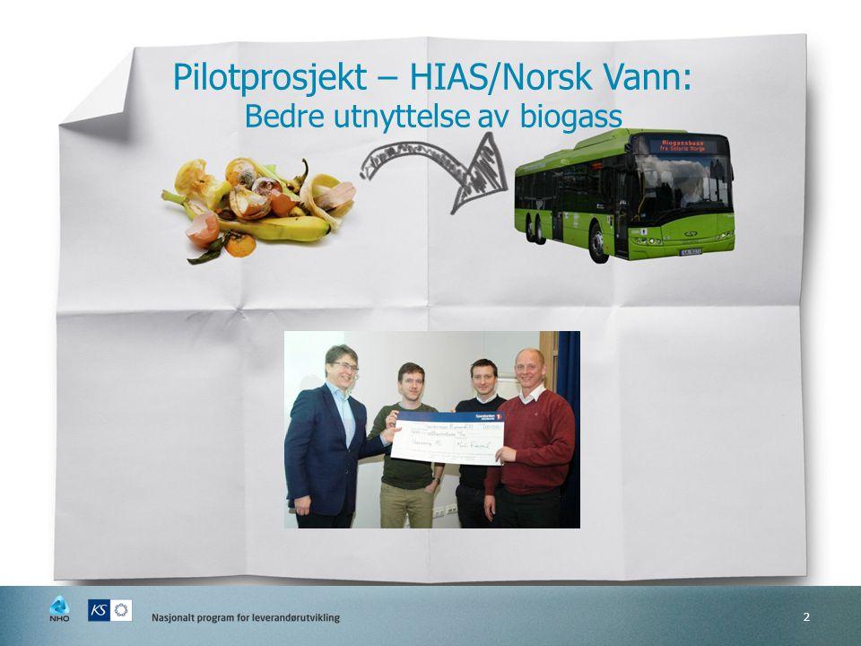 2 Pilotprosjekt – HIAS/Norsk Vann: Bedre utnyttelse av biogass