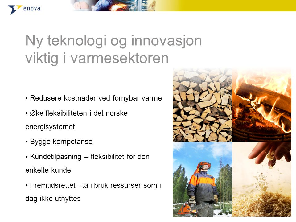 Ny teknologi og innovasjon viktig i varmesektoren • Redusere kostnader ved fornybar varme • Øke fleksibiliteten i det norske energisystemet • Bygge kompetanse • Kundetilpasning – fleksibilitet for den enkelte kunde • Fremtidsrettet - ta i bruk ressurser som i dag ikke utnyttes